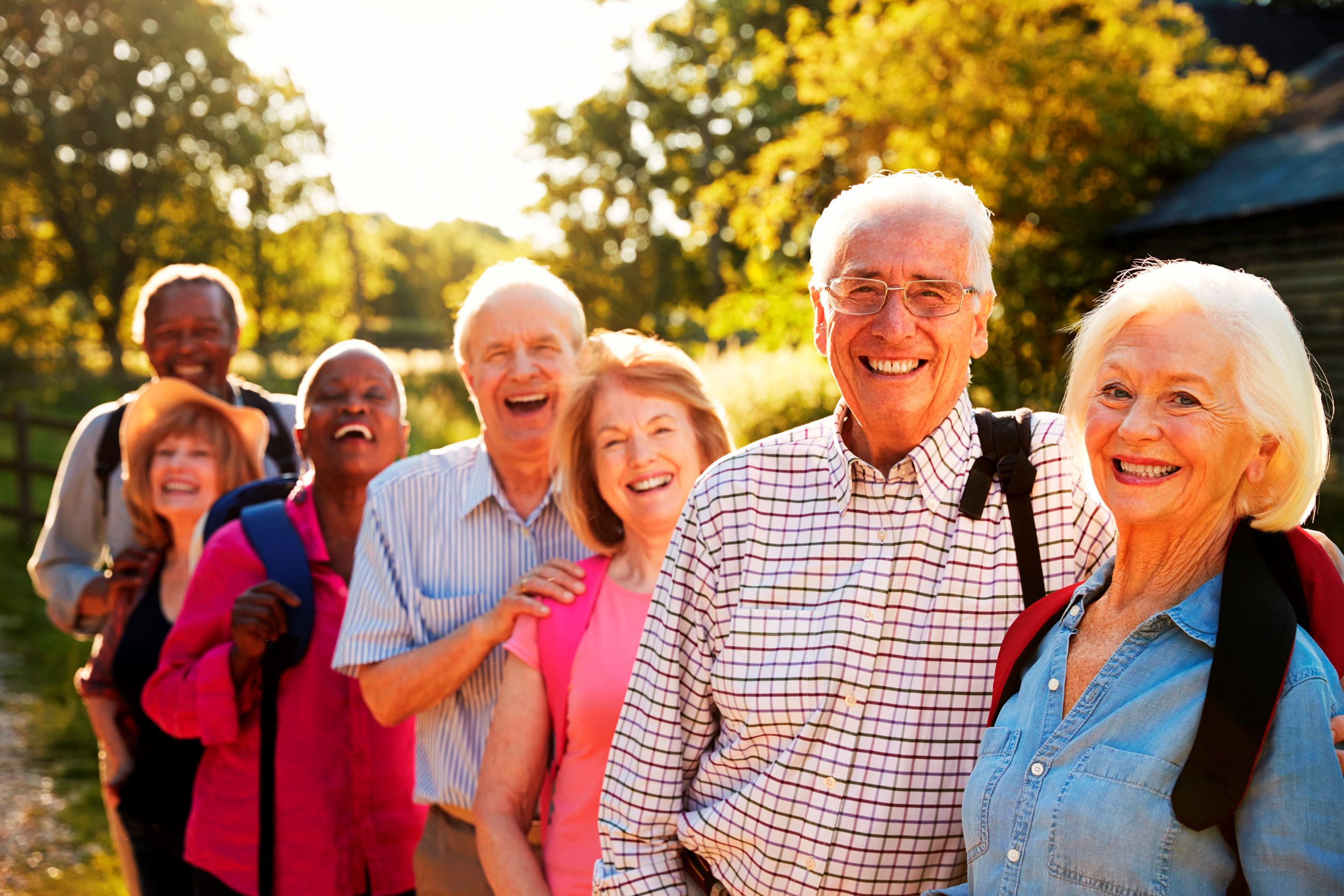Retired adults smiling