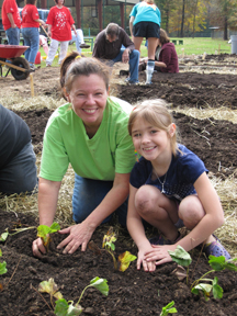 Mom and Daughter at Community Garden