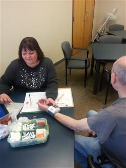 Blood Pressure Checks occur twice monthly at Vesper Hall.